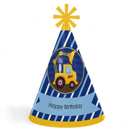 Construction Truck - Cone Happy Birthday Party Hats for Kids and Adults - Set of 8 (Standard Size) - Happy Birthday Kids