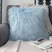 "Phantoscope Merino Style Faux Fur Series Decorative Throw Pillow, 18"" x 18"", Light Blue, 1 Pack"