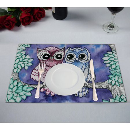 YKCG Watercolor Owls on Branches Green Tree Leaves Placemats Size 12x18 inches,Set of 2 ()