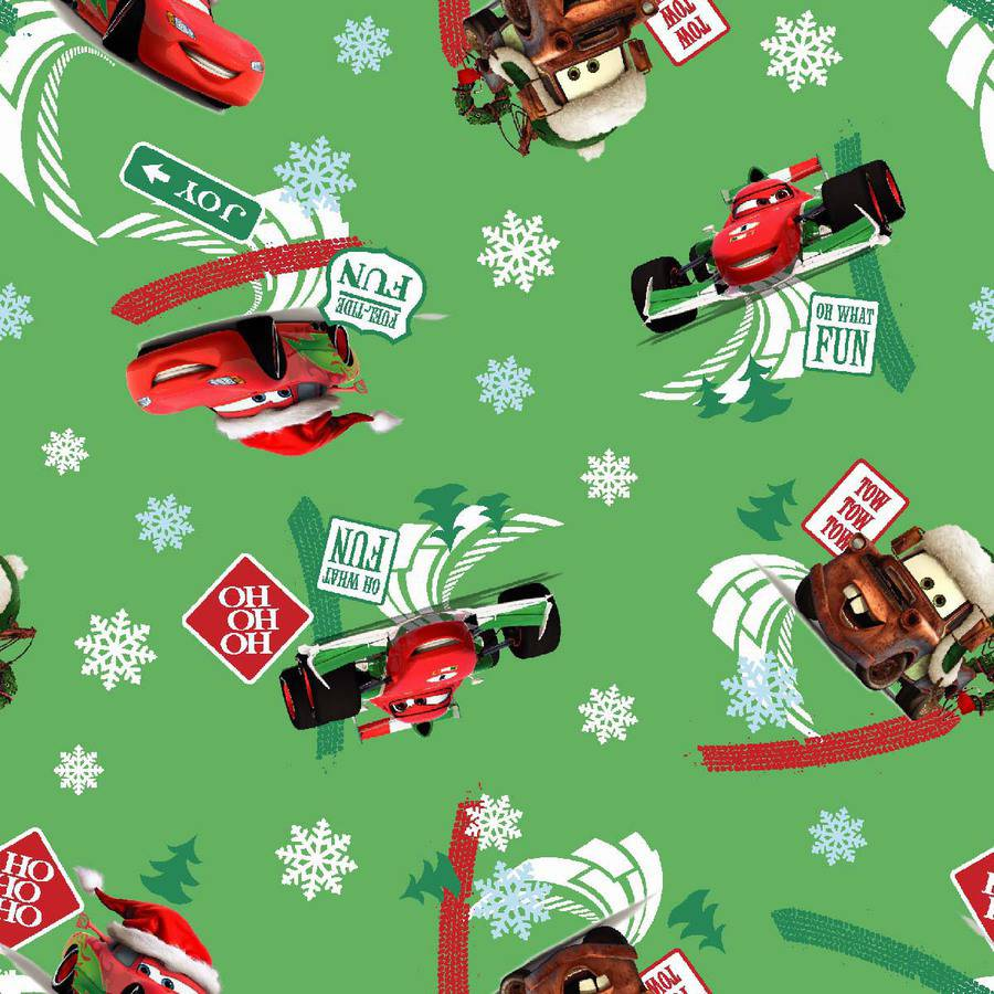 """Springs Creative Disney Cars Fuel Tide Fun Christmas, Green, 43/44"""" Wide, Fabric By the Yard"""