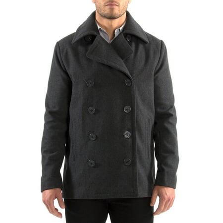 Alpine Swiss Mason Mens Wool Blend Pea Coat Jacket Double Breasted Dress Coat Double Breasted Silk Coat