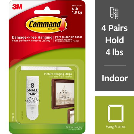Command Small Picture Hanging Strips White 8 Sets/Pkg