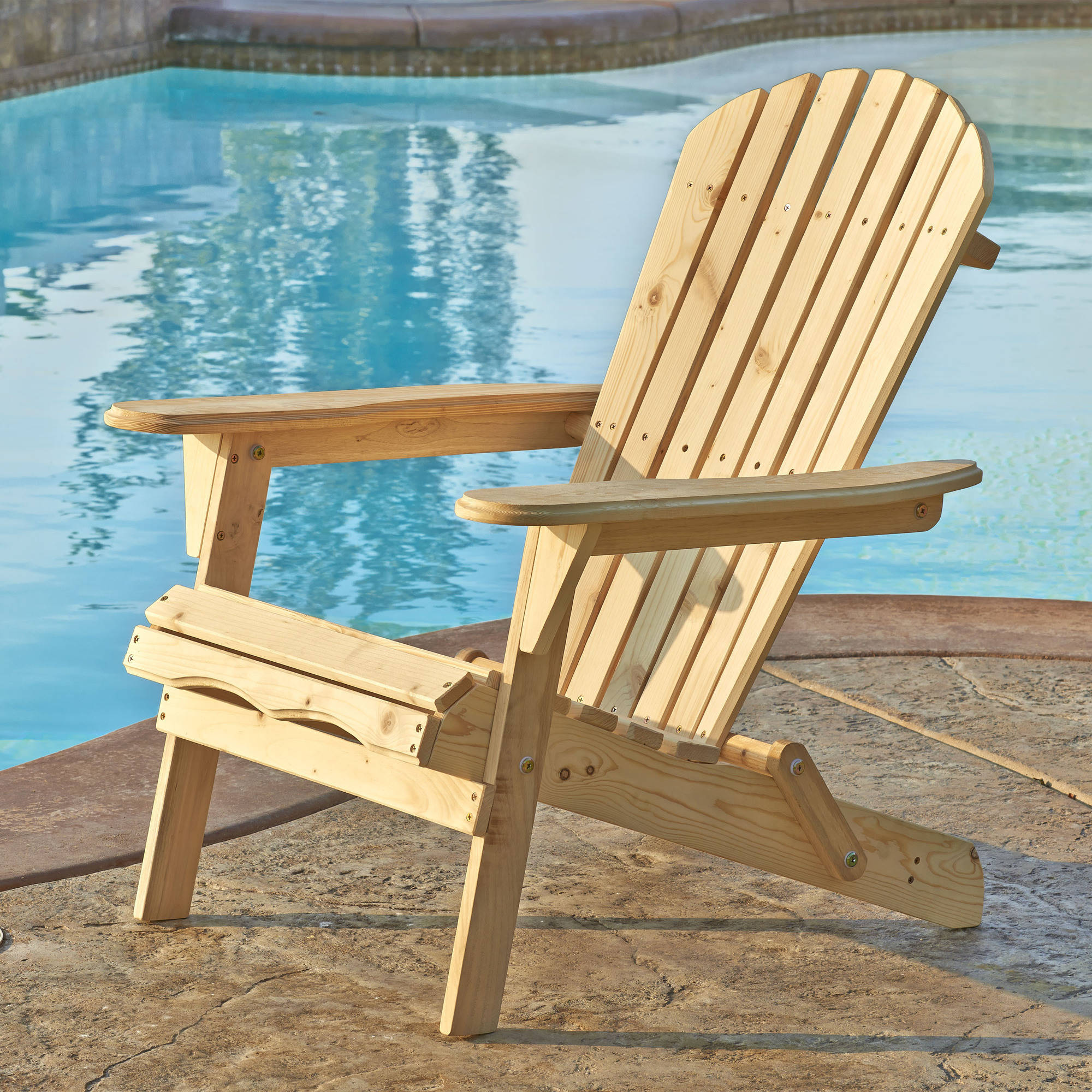 Incadozo Adirondack Chair, Natural Wood Color by Bestsign International