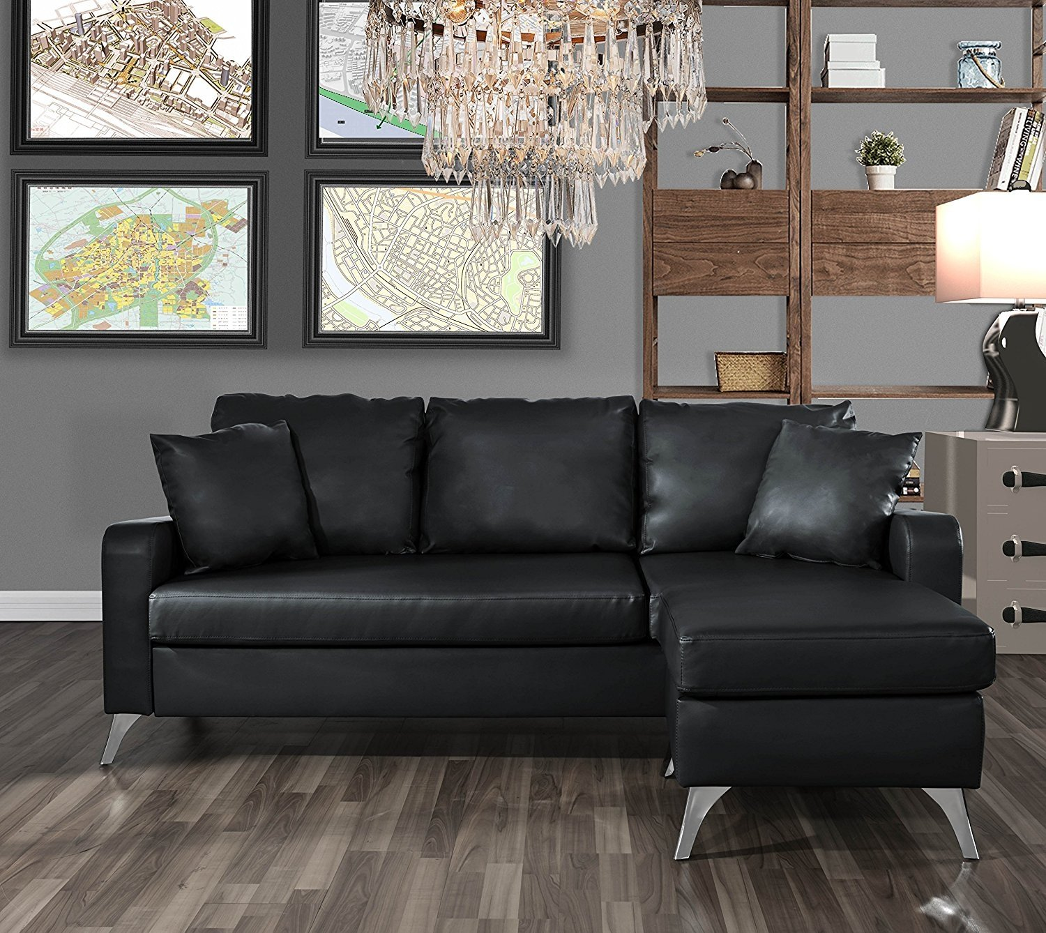 Small Space Configurable Couch Black Modern Bonded Leather ...