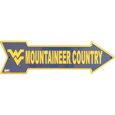 West Virginia Mountaineer Country Arrow Sign Embossed - Old West Sign