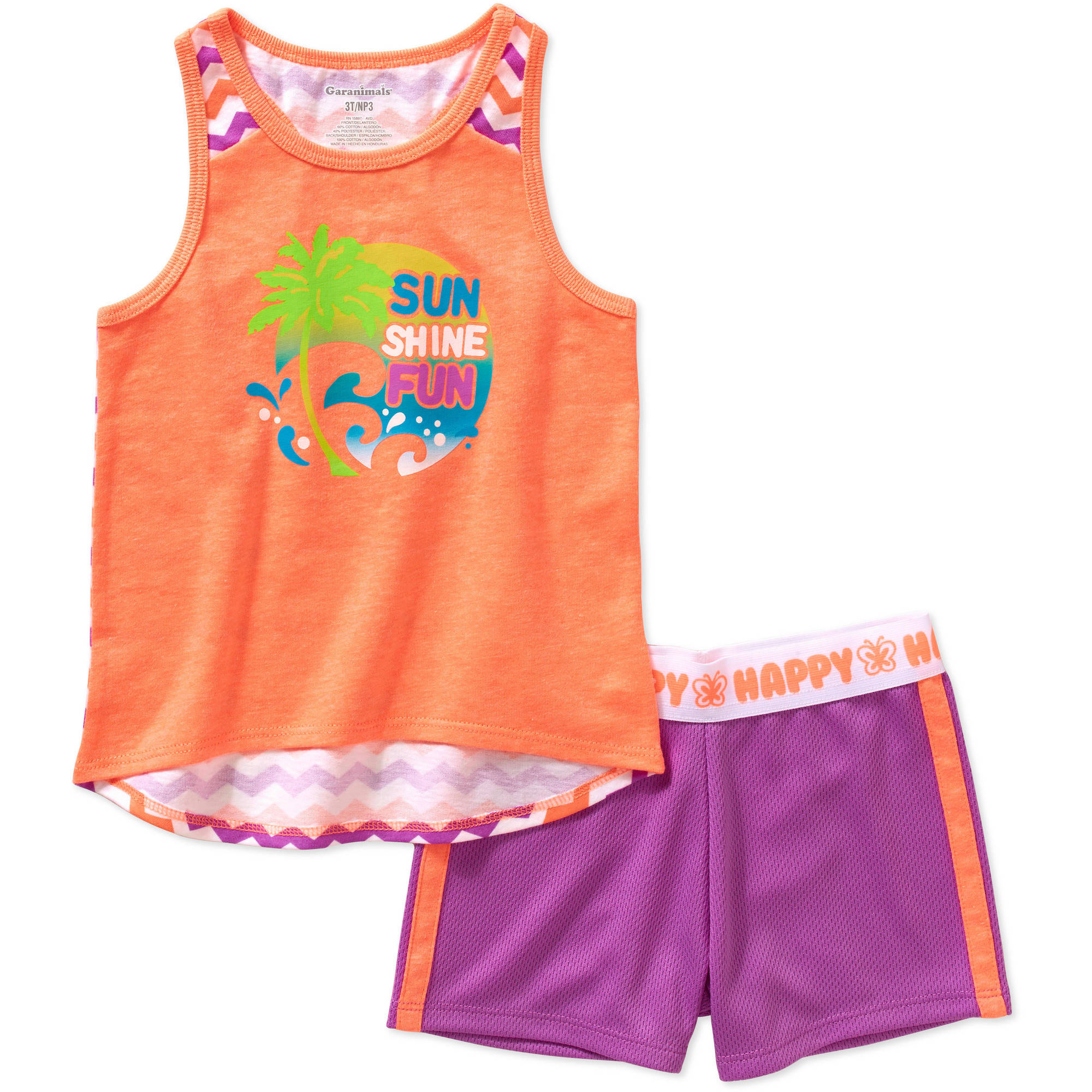 Garanimals Baby Toddler Girl Athletic Tank Top and Mesh Shorts Outfit Set