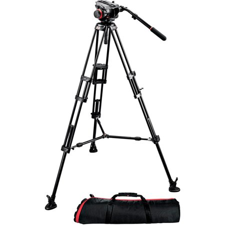 Manfrotto 504HD Head with 546B 2-Stage Aluminum Tripod System - 504HD,546BK