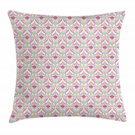 Antique Throw Pillow Cushion Cover, Arabesque Motifs with Flowers Butterflies and Leaves Timeless Middle Eastern Design, Decorative Square Accent Pillow Case, 16 X 16 Inches, Multicolor, by Ambesonne (Square Butterfly Leaf)