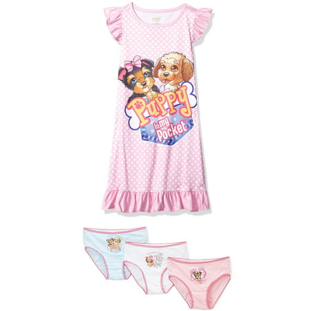 Shopkins or Puppy in My Pocket Girls' Ruffled Nightgown, and a 3 Piece Set of Briefs, Puppy, Size: 4-5