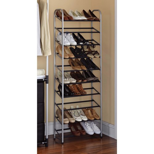 mainstays 10 tier shoe rack black and silver