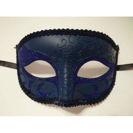 Navy Blue Venetian Men Elegant Masquerade Mardi Gras Halloween Costume Glitter Mask (Elegant Masquerade Masks)