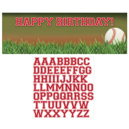Baseball Fanatic Giant Happy Birthday Banner with Letter - Baseball Happy Birthday Banner