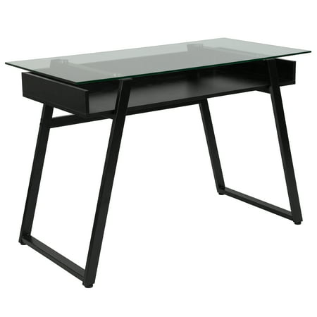 Flash Furniture Huntley Glass Computer Desk With Shelf And