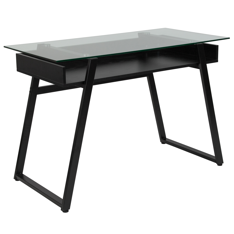 Flash Furniture Huntley Glass Computer Desk with Shelf and Black Metal Legs