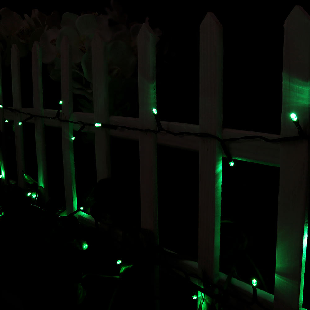 Sunnydaze Set of 2, 68 Foot 200-Count Solar Powered String Lights Outdoor Decorative, Green