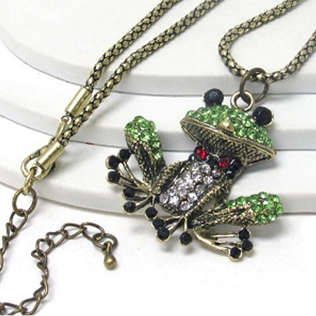 Mr. Froggy the Tuxedo Wearing Frog Green and Gold Crystal Covered Long Adjustable Necklace
