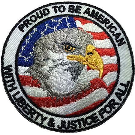Proud to be American - with Liberty and Justice for all - Eagle with USA Flag - Sew Iron on Embroidered Applique Badge Patch By Ranger
