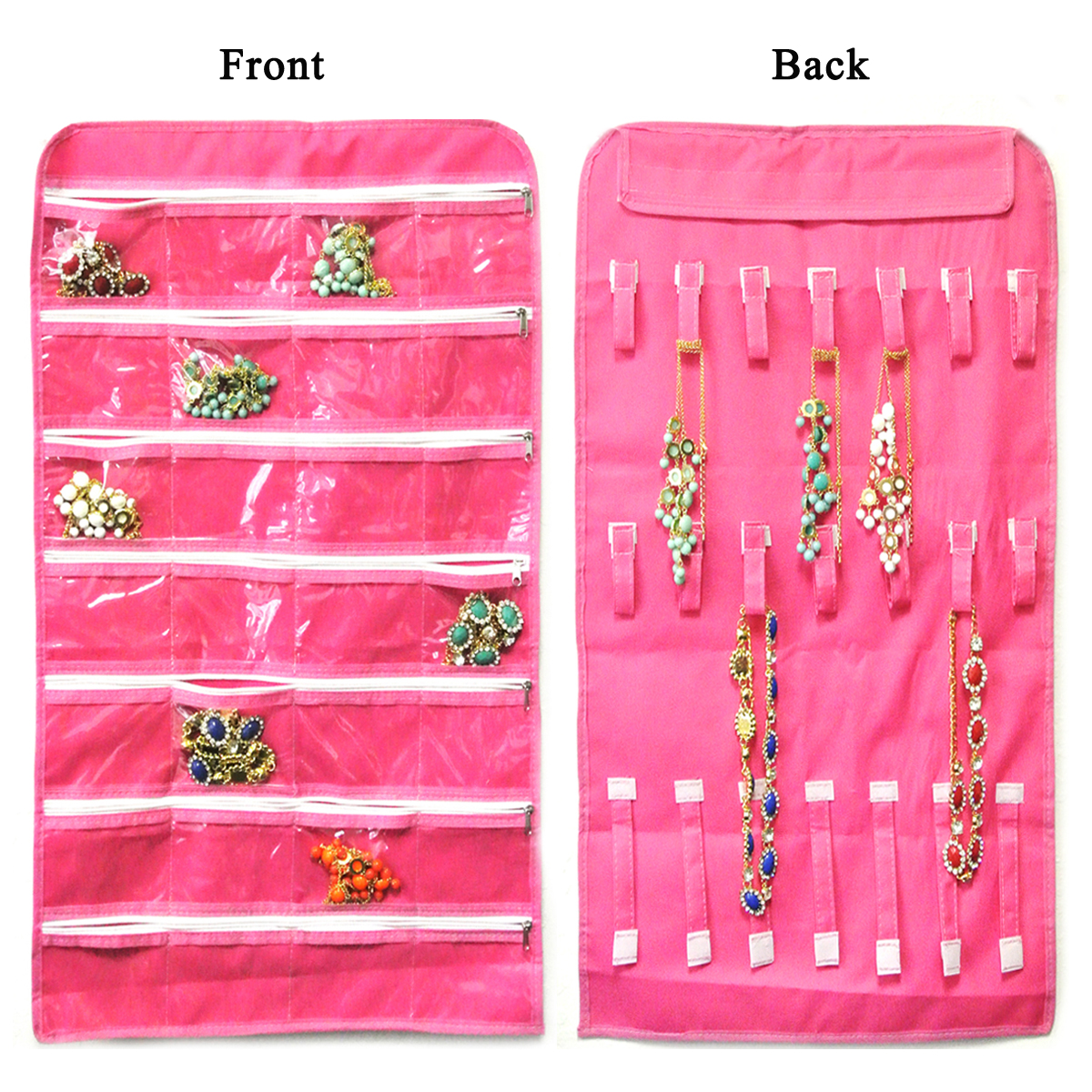 Wrapables 28 Zippered Pockets Hanging Jewelry Organizer with 21
