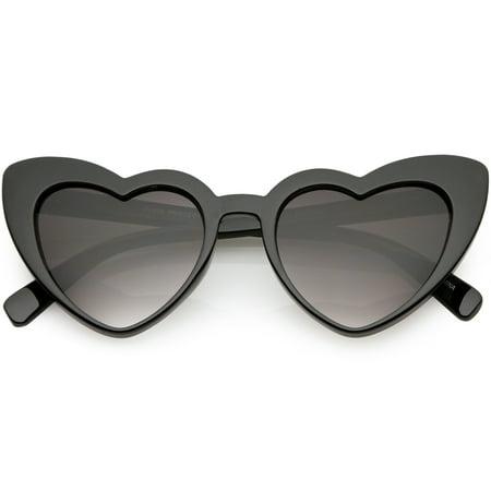 Women's Oversize Heart Sunglasses Gradient Lens 51mm (Black / Lavender) Lavender Womens Sunglasses
