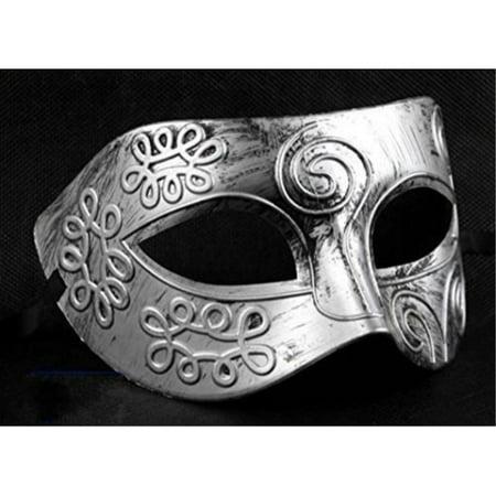 Retro Roman gladiator Halloween party masks Silver Men's Masquerade mask by friendshops