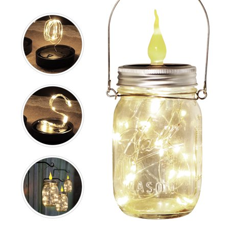 Image of OSALADI 4PCS Solar Jar Light Glass Jar Lid Candle Light with String Light Decorative Light for Party Home Christmas (Warm White)