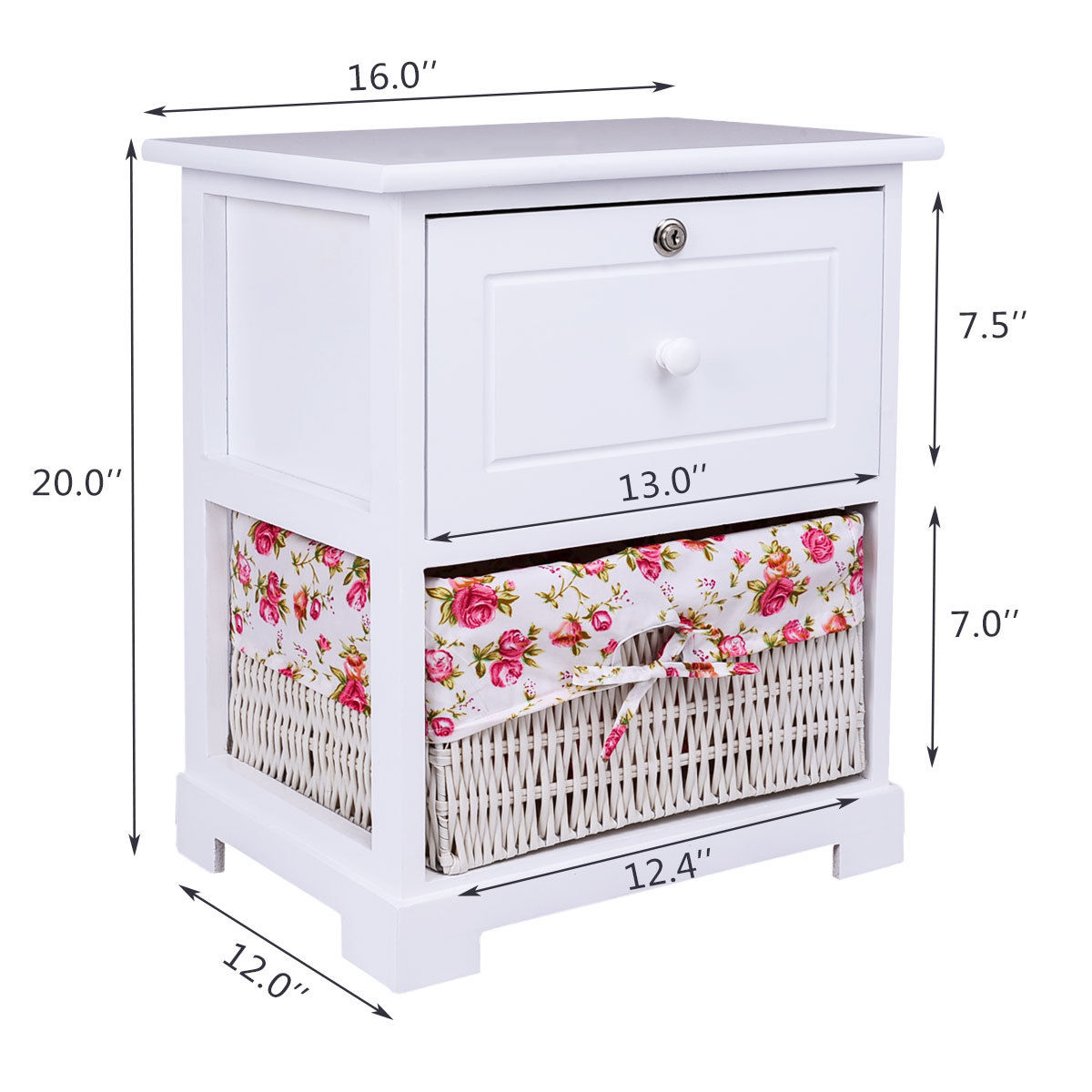 Gymax 2PCS 2 Tiers Wood Nightstand1 Drawer Bedside End Table Organizer W/Basket White - image 2 of 8