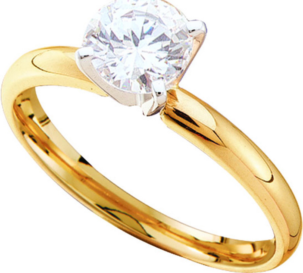 14kt Yellow Gold Womens Round Diamond Solitaire Bridal Wedding Engagement Ring 7 8 Cttw by GND