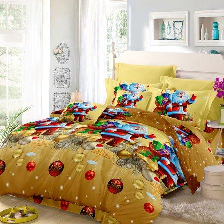 Christmas Santa Bedding Set Polyester 3D Printed Duvet Cover + 2pcs Pillowcases + Bed Sheet Set Christmas Bedroom Decorations--Twin Size ()