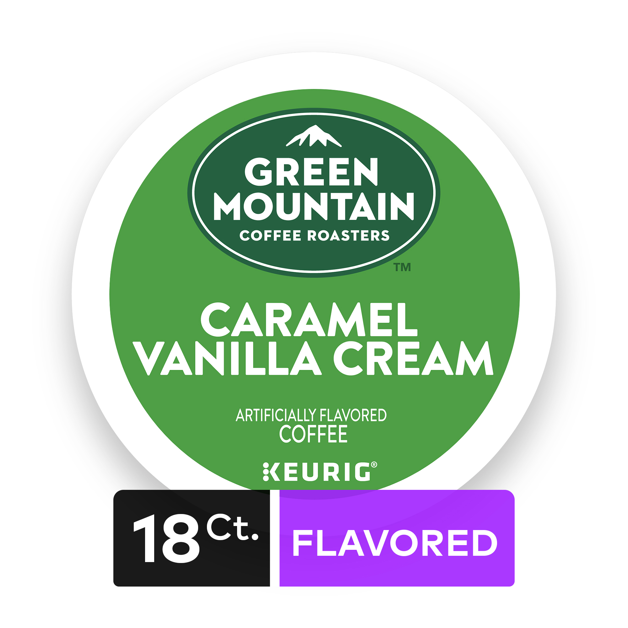 Green Mountain Coffee Roasters Caramel Vanilla Cream Keurig Single-Serve K-Cup pods, Light Roast Coffee, 18 Count