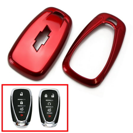 iJDMTOY Glossy Metallic Red Exact Fit Folding Key Fob Shell Cover For  2016-up Chevrolet Camaro Malibu Cruze Spark Volt, 2017-up Bolt Sonic Trax,  etc