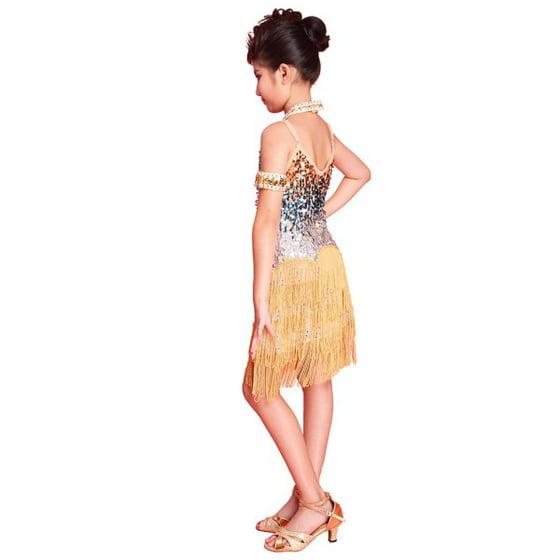 868195ce0ea5 Girls Latin dance dress Tango Sequin Dance children Fairy Dresses costume -  Walmart.com
