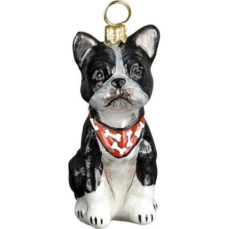 Boston Terrier Dog Ornament - Boston Terrier with Bandana Dog Polish Blown Glass Christmas Ornament Decoration