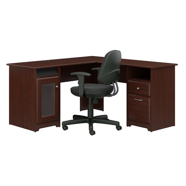 Bush Furniture Cabot L Shaped Desk and Office Chair in Harvest Cherry