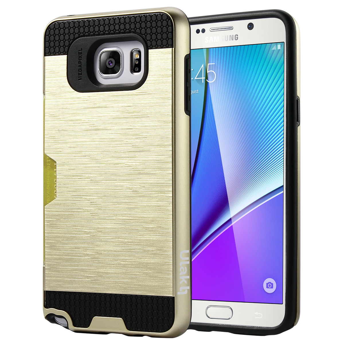 ULAK Note 5 Case Hybrid TPU and Plastic Protective Case Slim Fit Cover with Card Slot for Samsung Galaxy Note 5 2015 Smartphone(Gold/Black)