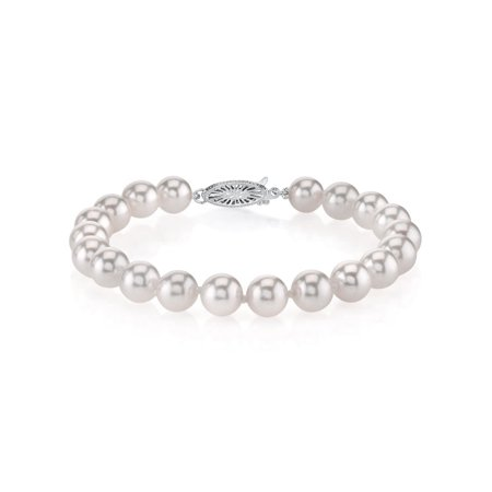 18K Gold 6.5-7.0mm Japanese Akoya Saltwater White Cultured Pearl Bracelet