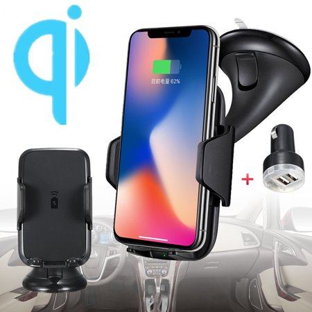 Qi Wireless Car Charger Mount Dashboard Windshield Phone