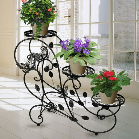 Plain Holder - HLC Metal Potted Plant Display Stand Garden Patio Display Rack with 3-Flower Pot Holder, Black