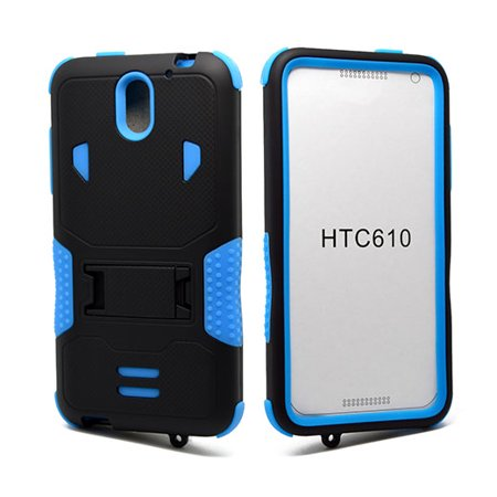HTC Desire 610 Impact Silicone Case Dual Layer with Stand Blue ()