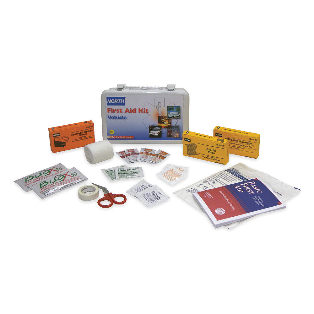 First Aid Kit,  Kit,  Steel Case Material,  Vehicle,  3 People Served Per Kit