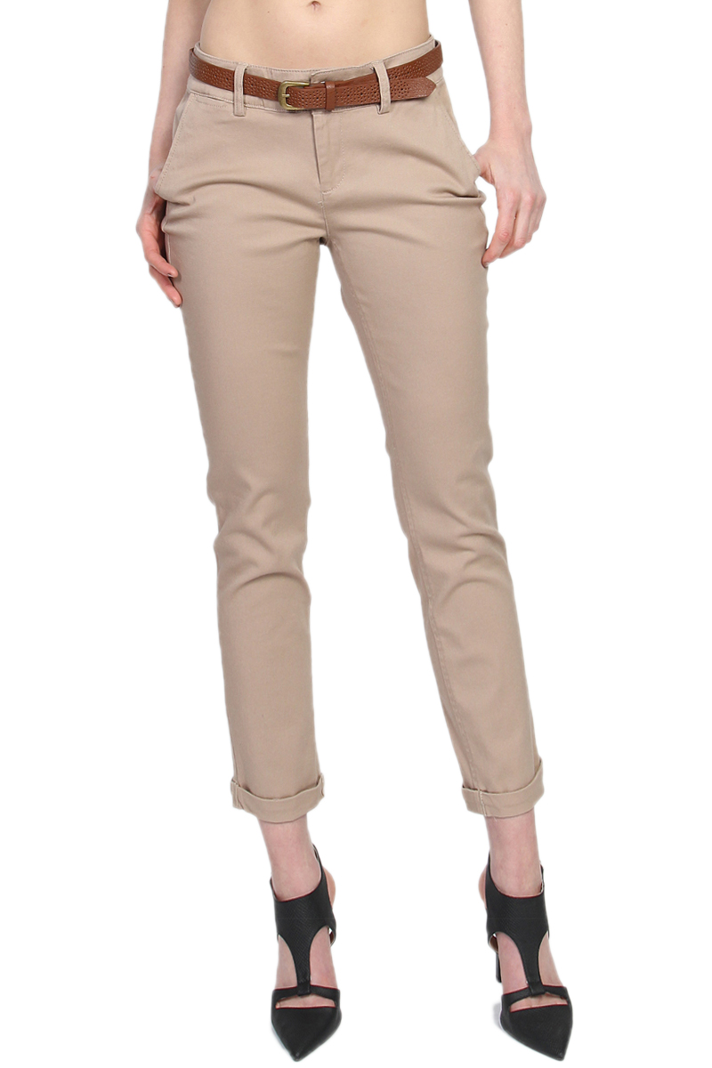TheMogan Women's S~3X Cuffed Ankle Stretch Cotton Twill Casual Skinny Chino Pants