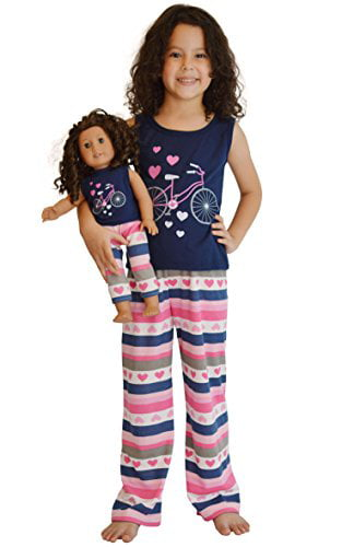 """Girl 2T-12 and 18/"""" Doll Matching Nightgown Clothes fit American Girl Dollie Me"""