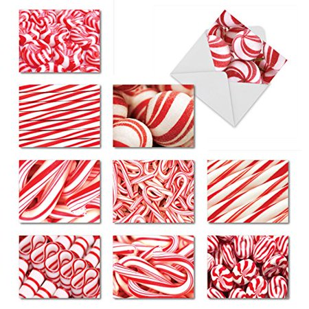 'M6000 HOOKED ON CANDY' 10 Assorted All Occasions Greeting Cards Featuring Images Of Candy Canes And Other Delectable Holiday Treats with Envelopes by The Best Card