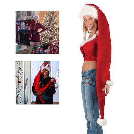 Hot Super Long Hat Santa Claus Red Accessory Adult Christmas for $<!---->
