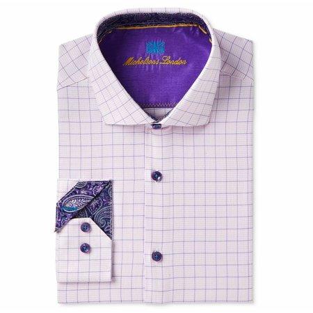 Michelsons Men's Slim Fit Button Down Dress Shirt, Pink/Purple Windowpane L NEW