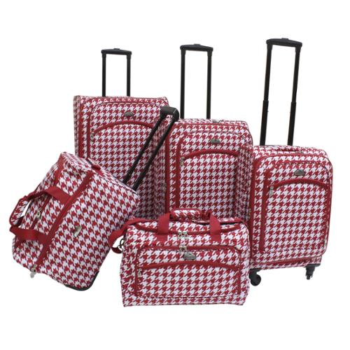 American Flyer Houndstooth 5-piece Expandable Spinner Luggage Set Red
