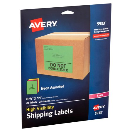 Avery High-Visibility Neon Shipping Labels for Laser Printers 5933, Assorted Colors, 8-1/2