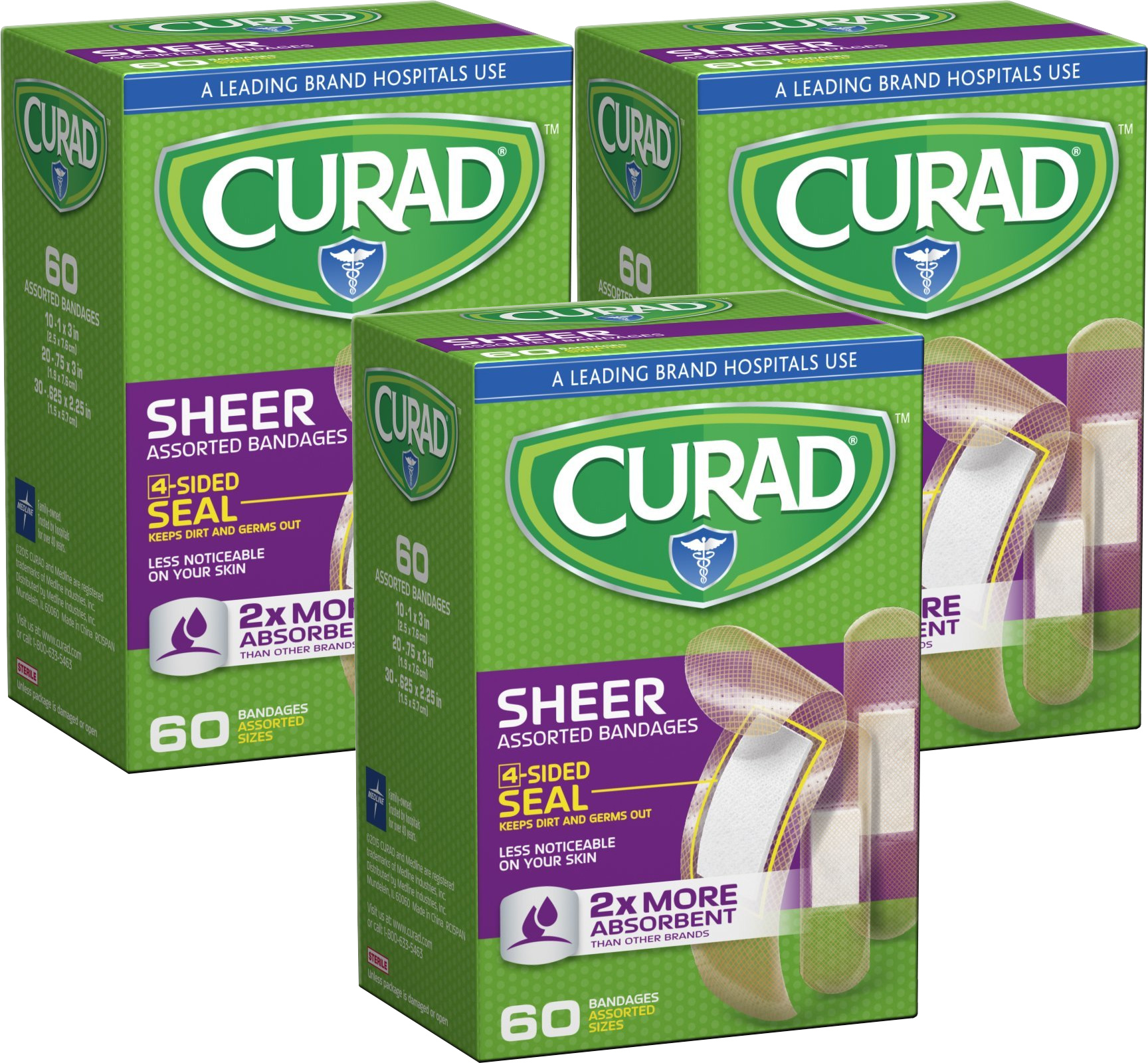 Curad Sheer Bandages, Assorted Sizes, 3 Packs of 60, 180 Bandages Total