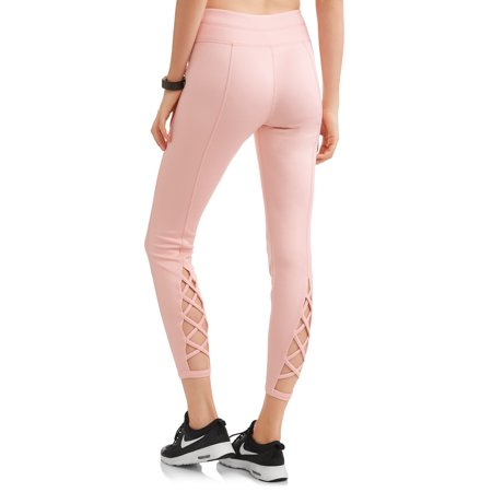 Athletic Works Womens Active Spacedye Performance Lattice Ankle Leggings