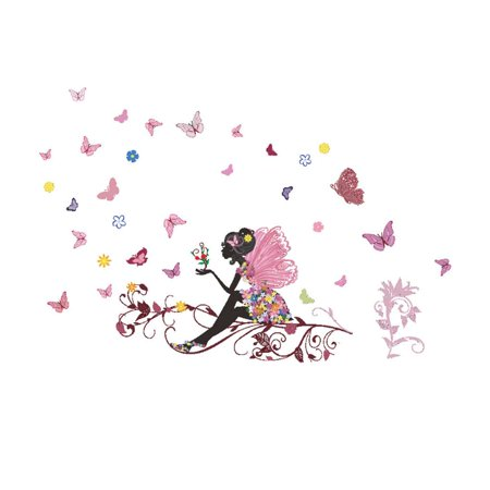 Beautiful Removable Butterfly Flower Girl Wall Stickers Wall Decals Home Room Decoration - image 3 of 4