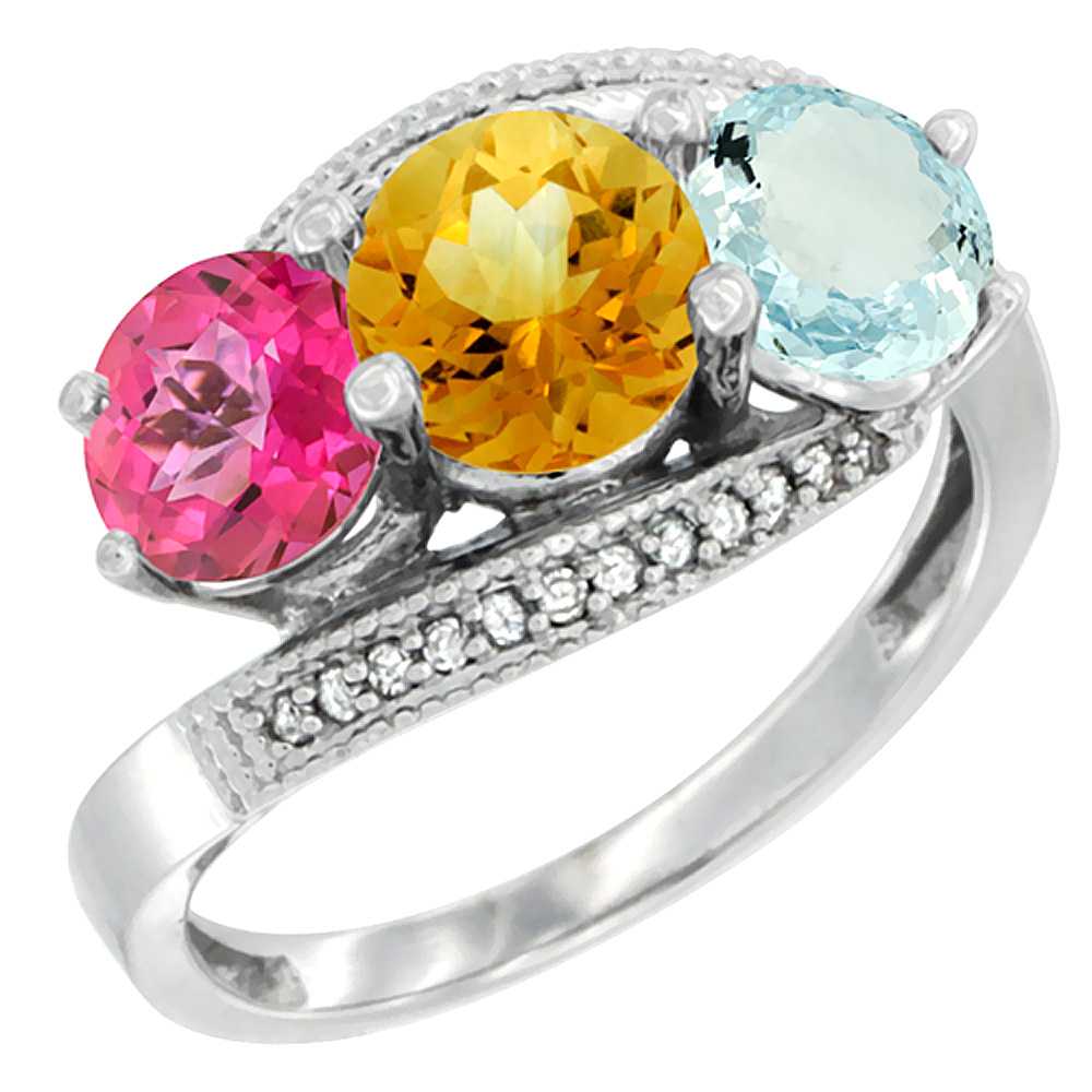 14K White Gold Natural Pink Topaz, Citrine & Aquamarine 3 stone Ring Round 6mm Diamond Accent, size 5 by Gabriella Gold